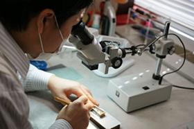 顕微鏡による精密な手作業